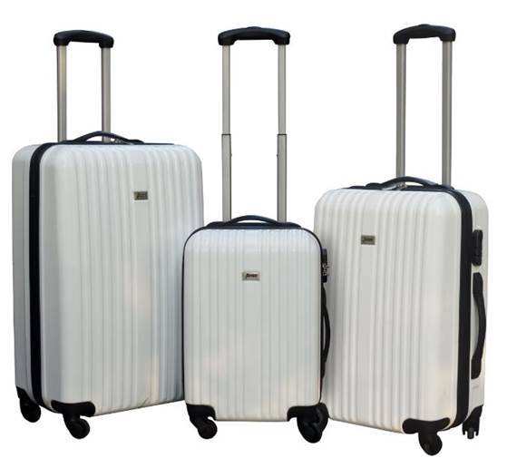 Kofferset in drei Größen, wahlweise in den Farben Schwarz, Dunkelgrau, Lila oder Dunkelgrün