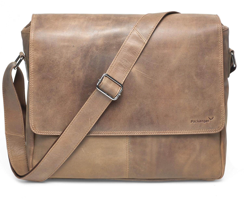 Vethorn Messenger Bag Umhängetasche oder Notebooktasche mit Notebook-Fach bis 15 Zoll aus Echtleder in verschiedenen Farben