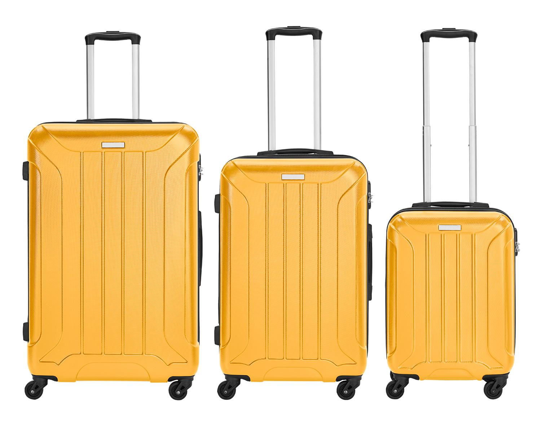 3er Koffer-Set ABS Trolley-Set Hartschale (M, L & XL) Material: ABS 4 Rollen (360°) 803-010-